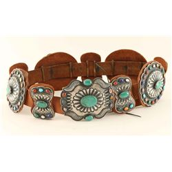 Multicolored Stone Concho Belt