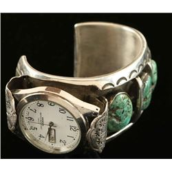 Old Pawn Navajo Turquoise & Silver Watch Cuff