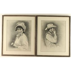Lot of 2 Charcoals on Paper by Norman Deitchman