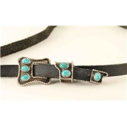 Hatband with Navajo Silver & Turquoise Buckle