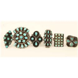 Lot of 6 Navajo Sterling & Turquoise Rings