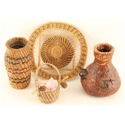 Lot of 4 Native Basketry Items