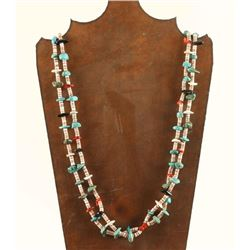 Two Strand Turquoise, Jet, Coral & Heishi Necklace