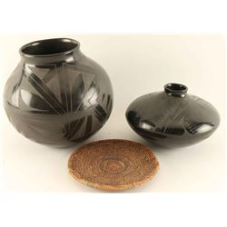 Collection of 2 Mata Ortiz Blackware Pots