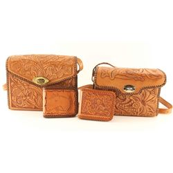 Collection of 2 Tooled Purses & 2 Wallets