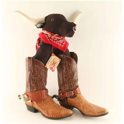Pair of Justin Snakeskin boots