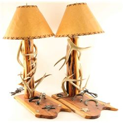 Pair of Western Themed Lamps with Deer Antlers