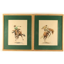 Lot of 2 Watercolors on Paper by Charles Paris