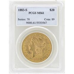 1883-S $20 Liberty Head Double Eagle Gold Coin PCGS MS61