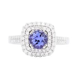 18KT White Gold 1.16 ctw Tanzanite and Diamond Ring