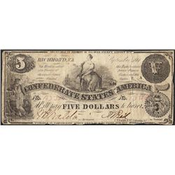 1861 $5 Confederate States of America Note