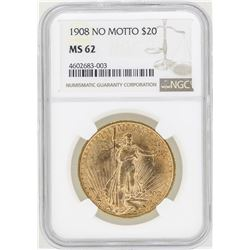 1908 No Motto $20 St. Gaudens Double Eagle Gold Coin NGC MS62