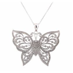 14KT White Gold Butterfly Filigree Pendant with Chain