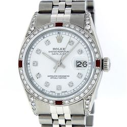 Rolex Men's Stainless Steel Diamond Lugs & Ruby Datejust Wristwatch