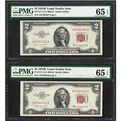 Lot of (2) 1953B $2 Legal Tender Notes Fr.1511 PMG Gem Uncirculated 65EPQ
