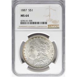 1887 $1 Morgan Silver Dollar Coin NGC MS64 Nice Toning