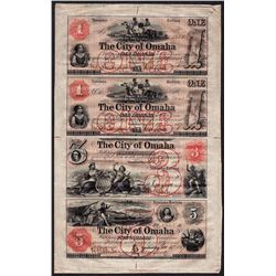 Uncut Sheet of 1857 $1/$1/$3/$5 The City of Omaha Obsolete Bank Notes