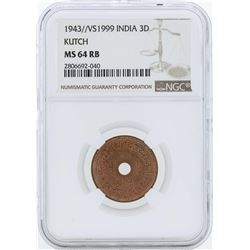 1943//VS1999 India 3 Dhabu Coin NGC MS64RB