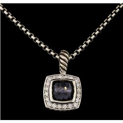 David Yurman .925 Silver 1.50 ctw Quartz and Diamond Pendant with Chain