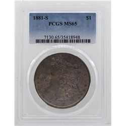 1881-S $1 Morgan Silver Dollar Coin PCGS MS65 NICE TONING