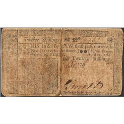 April 12, 1760 New Jersey Twelve Shillings Colonial Currency Note