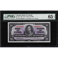 1937 $10 Bank of Canada Note BC-24b PMG Gem Uncirculated 65EPQ