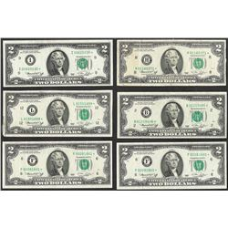 Lot of (6) 1976 $2 Federal Reserve STAR Notes