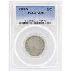 1901-S Barber Quarter Coin PCGS AG03