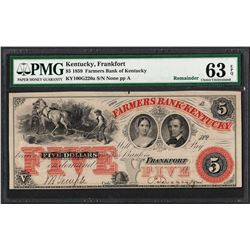 1859 $5 Farmers Bank of Kentucky Obsolete Note PMG Choice Uncirculated 63EPQ