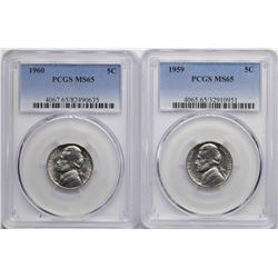 Lot of 1959-1960 Jefferson Nickel Coins PCGS MS65