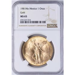 1981-MO Mexico 1 Onza Libertad Gold Coin NGC MS65