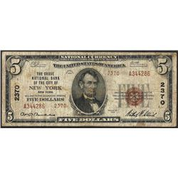 1929 $5 Chase NB City of New York CH#2370 National Currency Note