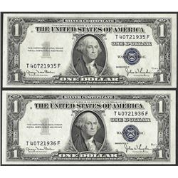 Lot of (2) Consecutive 1935D $1 Silver Certificate Notes