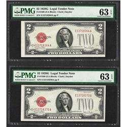 Lot of (2) 1928G $2 Legal Tender Notes Fr.1508 PMG Choice Uncirculated 63EPQ
