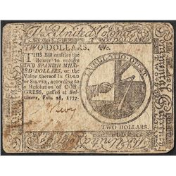 February 16, 1777 $2 Continental Currency Note