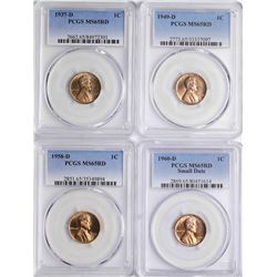 Lot of 1937-D, 1949-D, 1958-D, 1960-D Lincoln Wheat Cent Coins PCGS MS65RD