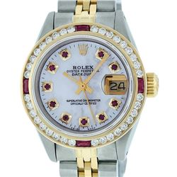 Rolex Ladies Two Tone 14K MOP Ruby & Diamond Datejust Wristwatch