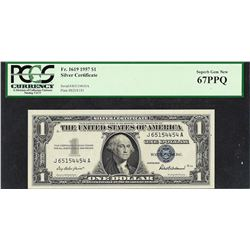 1957 $1 Silver Certificate Note PCGS Superb Gem New 67PPQ