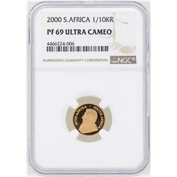 2000 South Africa 1/10 Krugerrand Gold Coin NGC PF69 Ultra Cameo