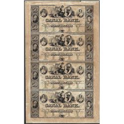Uncut Sheet of 1800's $50 Canal Bank Obsolete Notes