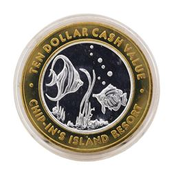 .999 Silver Chip-Ins Island Resort Harris, MI $10 Limited Edition Gaming Token