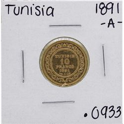 1891-A Tunisia 10 Francs Gold Coin