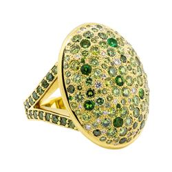 18KT Yellow Gold 2.78 ctw Tsavorite, Emerald and Diamond Ring
