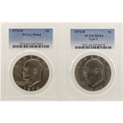 Lot of 1974-D & 1976-D Eisenhower Dollar Coins PCGS MS64