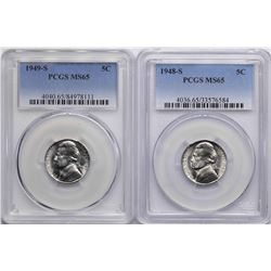Lot of 1948-S & 1949-S Jefferson Nickel Coins PCGS MS65
