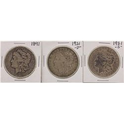 Lot of 1891, 1921-D & 1921-S $1 Morgan Silver Dollar Coins