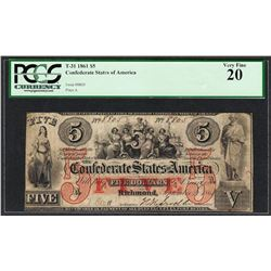 1861 $5 Confederate States of America Note T-31 PCGS Very Fine 20