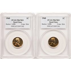 Lot of (2) Proof Lincoln Wheat Cent Coins PCGS PR67RD Small Date