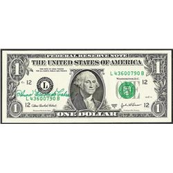 2003A $1 Federal Reserve Note Courtesy Autograph