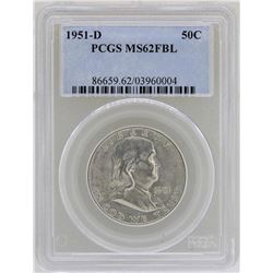 1951-D Franklin Half Dollar Coin PCGS MS62FBL